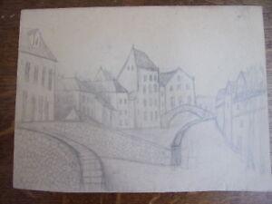 2 Dessins Au Crayon. Village De France, Route De Campagne. Circa 1940 Haut Niveau De Qualité Et D'HygièNe