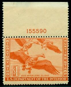 US #RW11 $1.00 White-fronted Geese, Plate No. Single NH Scott $130.00