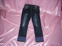 Juniors Karma Blue Stretch Emb Leg Ends Ankle Straight Jeans Sz 9 28 X 27