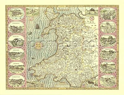 1610 Replica John Speed 17c. WALES Welsh map, ALL hand coloured UNUSUAL GIFT?!