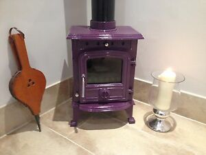Details about AUBERGINE 4 5 KW CAST IRON ENAMEL MULTIFUEL WOOD BURNING STOVE