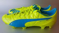 PUMA evoSPEED SL 2 Leather FG Men's Soccer/Futbol Cleats, size 9, Yellow/Blue
