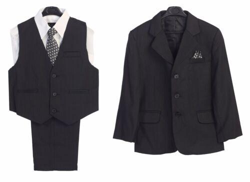 Boys Suit Formal Dress Charcoal Pinstriped Kids Graduation Wedding Vest Suit New