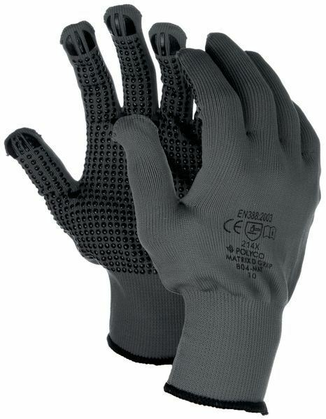 1 or 12 Pair Polyco Matrix D Grip Grey Work Gloves with PVC Safety Dot Grip Palm
