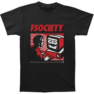 Mr-Robot-Fsociety-Mask-Men-039-s-T-shirt-Black