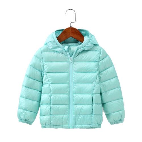 Kids Baby Girls Boys Coat Colorful Parka Winter Light Outwear Hooded Jacket