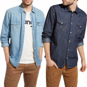 e1c2357584 Image is loading Mens-Wrangler-Classic-Denim-Western-Shirt-Long-Sleeved