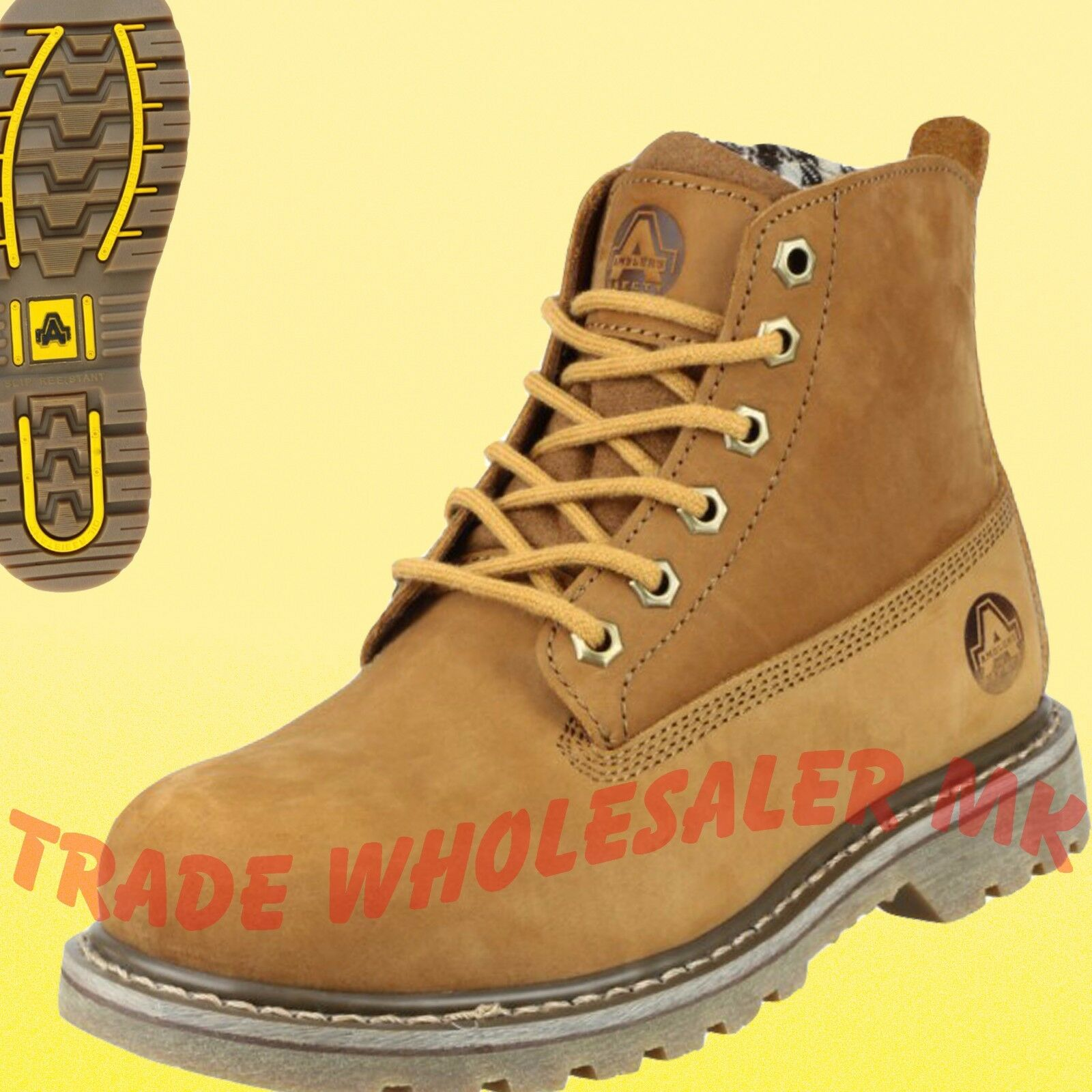 FS103 Ladies Safety Work boots Steel toe and comfort tartan lining