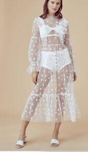 cf28452e77 For love and lemons Claudia Ruffle Tulle white dress, size Large | eBay