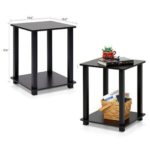 wood living room table end table set 2 small side tables storage shelf wood 14560
