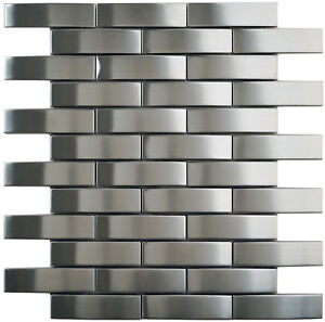 Mosaik Metall Edelstahl Grau Wand Boden Kuche Bad Wc Fliesenspiegel