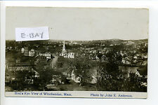 Winchendon MA Mass RPPC real photo bird's eye view, homes, street, steeple