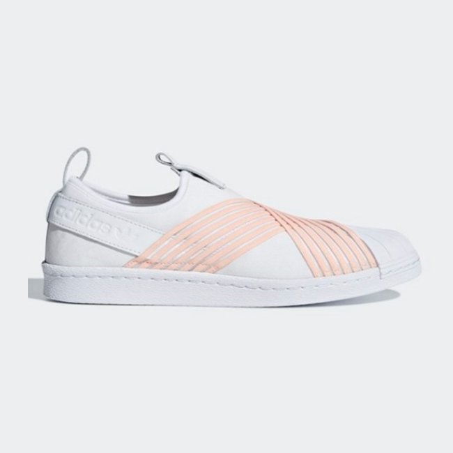 New Adidas Adidas Adidas Original Womens SUPERSTAR SLIP ON WHITE   PINK D96704 US W5 - 8 TAKSE f76a07