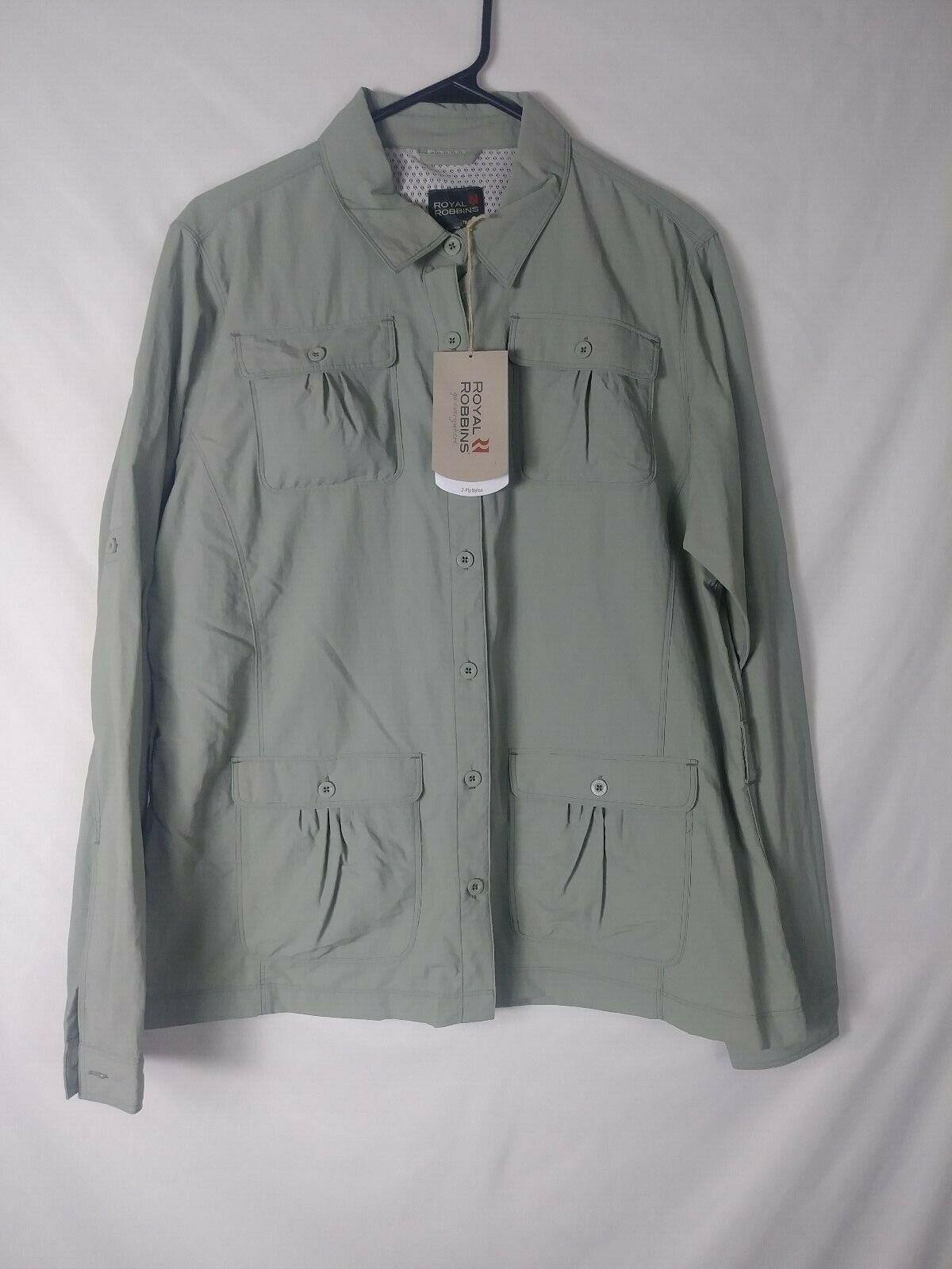New Royal Robbins damen Shirt Größe XL Grün Long Sleeve Hiking Fishing Outdoors