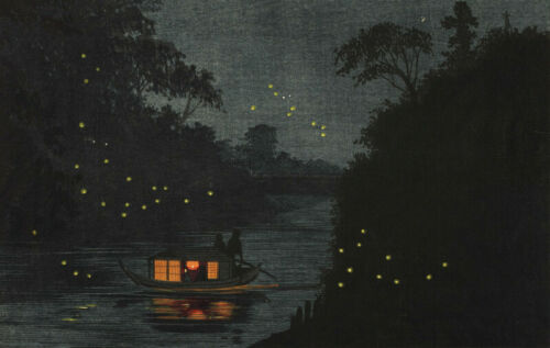 "Japanese Woodblock Print /""Fireflies at Ochanomizu/"" KOBAYASHI KIYOCHIKA"