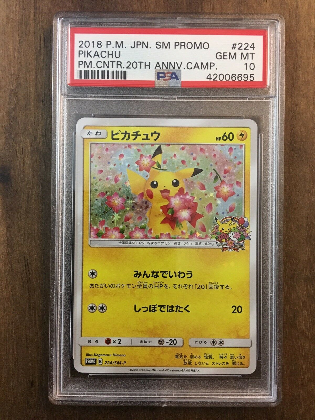 Pokémon pikachu sun & mond japanische promo - 20. jahrestag sm-p 224 psa 10 gem