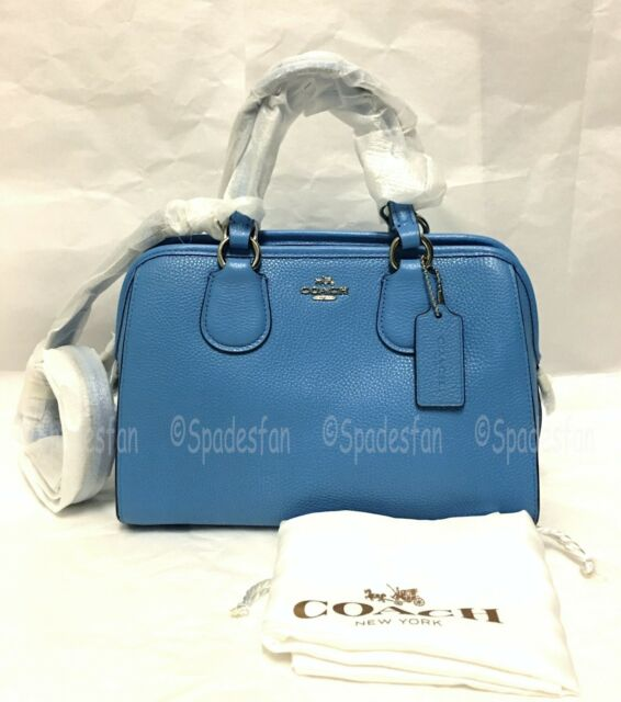 3f8d9e885bba Coach 33735M Pebbled Leather MINI Nolita Satchel Bag 2-Way Purse AZURE Blue  NWT