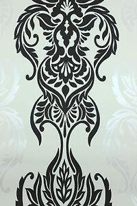 vlies tapete barock muster ornament wei schwarz weiss silber klassisch ebay. Black Bedroom Furniture Sets. Home Design Ideas