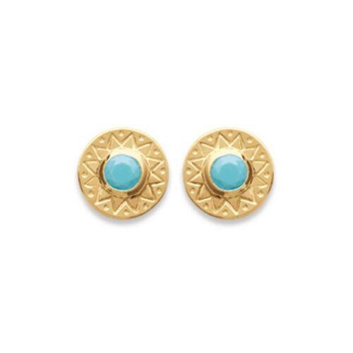 Petites Boucles d/'Oreilles Plaqué Or Mode Turquoise