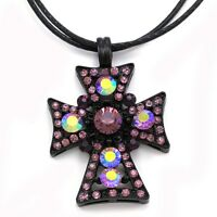 Purple Amethyst Cross Rhinestone Necklace Chain Pendant