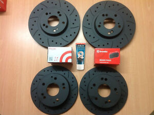 Civic-Type-R-FN2-Front-Rear-Grooved-MTEC-Black-Brake-Discs-amp-Brembo-Pads-amp-Lube