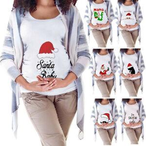 UK Women Christmas Print Pregnant Maternity T-shirt Short Sleeve  Pregnancy Tops