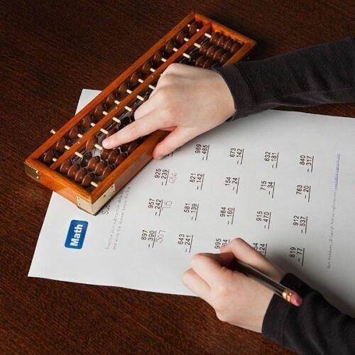 COFFEE TABLE FUNCTIONAL ART ABACUS WOOD FRAME BEADS HEAVEN AND EARTH CALCULATOR