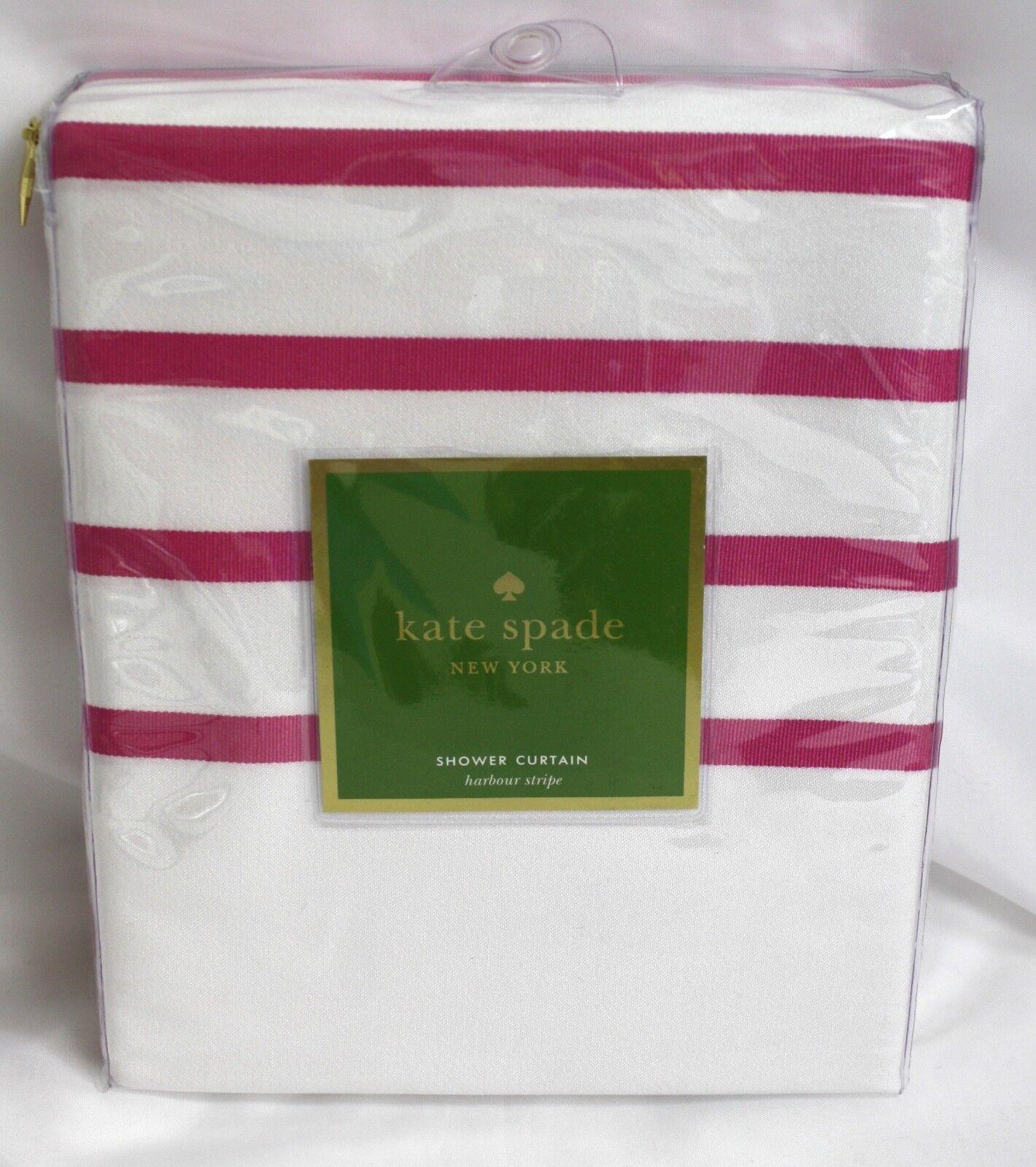 Kate Spade Shower Curtain Pink White Striped Harbour Stripe Nip 72 Inch