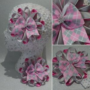 Handmade burgundy//grey school large pretty Harajuku romany hair bows