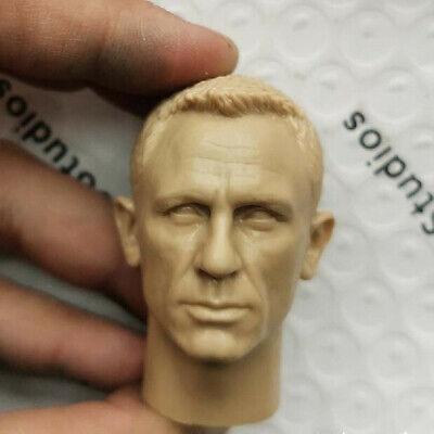 """Blank 1//6 Scale 007 James Bond Daniel Craig Head Sculpt Unpainted Fit 12/"""" Figure"""