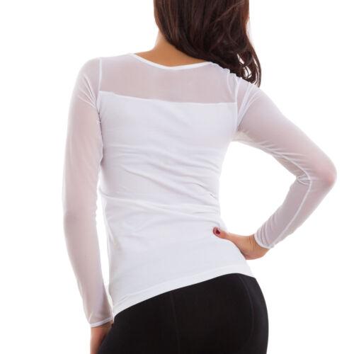 Maglia donna maglietta velata trasparente elegante maniche lunghe nuova QDZ9246B