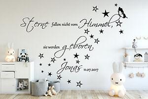 Details zu Wandtattoo AA138 Kinderzimmer Sterne fallen nicht...Namen Baby  Junge Mädchen