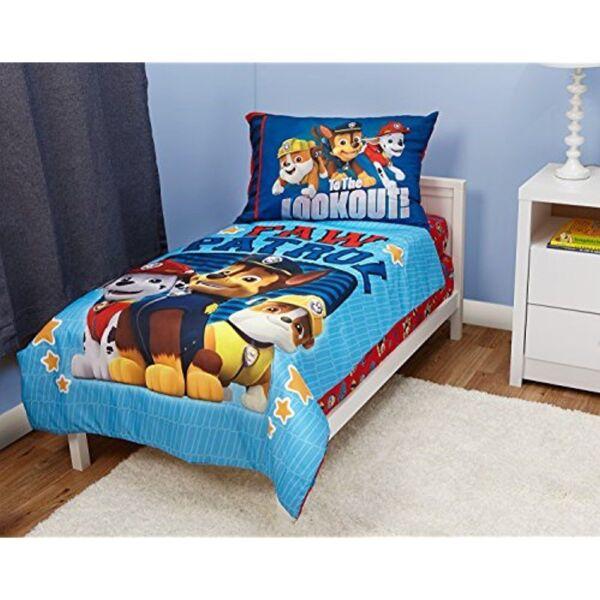Toddler Bedding Set For Boys 4pc Paw Patrol 2 Side Print