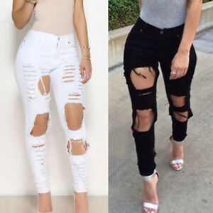 Women-Skinny-Ripped-Jeggings-Jeans-Pant-High-Waist-Stretch-Denim-Pencil-Trousers