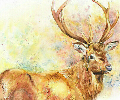 HELEN APRIL ROSE Fine Art Print of my GOLDEN STAG wildlife art watercolour 538