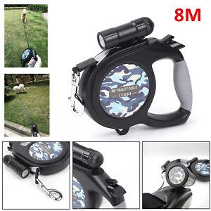 Hundeleine-Gurtleine-Seilleine-leine-Rollleine-8M-50KG-mit-Taschenlampe-DE