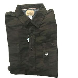 Roebuck & Co Shirt Camo Flannel Button Up Young Mens XL Pocket Camouflage NWT