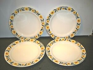 4-VINTAGE-HOMER-LAUGHLIN-YELLOW-DAISY-LUNCHEON-PLATES-9-1-8-039-039-RARE