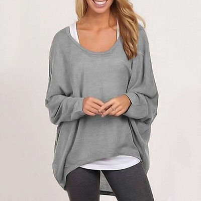 Korean Women Plus Size Long Sleeve Pullover Loose Baggy Casual Top Jumper Blouse
