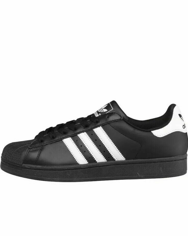 Adidas Black White Superstar II G17067 Leather Low Top Mens Sneakers SZ 18,19,20