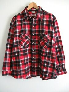 EUC-80s-Vtg-Five-Brother-Mens-Flannel-Plaid-Button-Down-Shirt-Red-XL-USA-Made