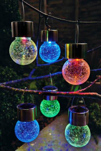 6 Crackle Ball Colour Changing Glass Solar Lights Garden Patio Caravan Drive ###