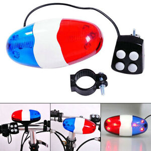 Bicycle-6-Flashing-LED-4-Sounds-Police-Siren-Trumpet-Horn-Bell-Bike-Rear-Lig-Gn