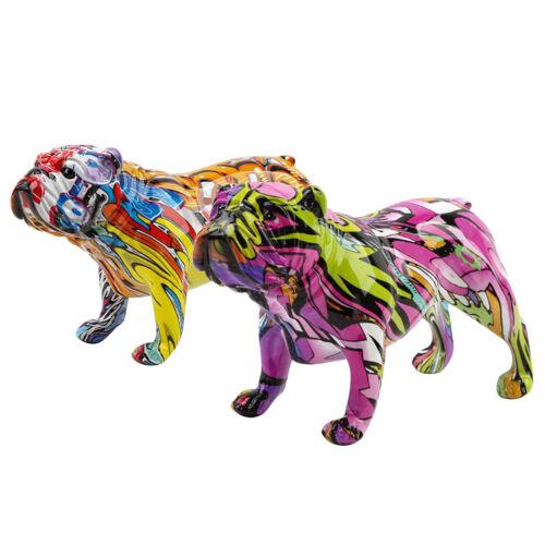 Nordic Bulldog Sculpture Figurine Graffiti Dog Statue Animals Art Decoration