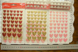 VALENTINE-Puffy-VALENTINE-Flat-HEART-Stickers-RED-PINK-FUCHSIA-SILVER-ChoiceL6