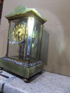 Vintage-clock-Uhr-XIXe-pendule-horloge-bronze-email-JAPY-Calais-Caillau-Neut