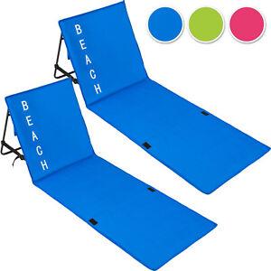 2x-Matelas-Plage-rembourre-Dossier-reglable-Tapis-Chaise-Camping-portable