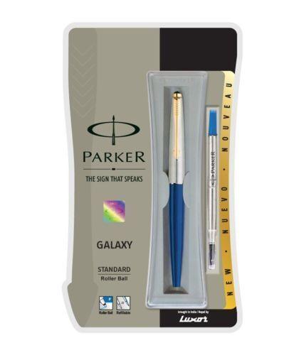 Parker Galaxy Standard Gold Trim Roller Ball Pen Blue  Body Blue Ink GT
