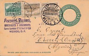 Entier-Postal-Mexico-Sucursala-2-Centavos-10-Tiaret-Algerie-Cover-Stationary