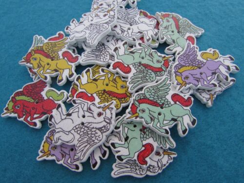 5 or 10 30 mm Wooden Unicorn Buttons in Assorted Colours Dans Pack of 2